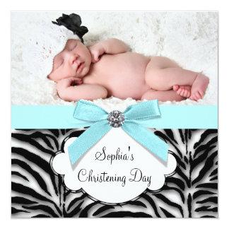 Baptême bleu turquoise de photo de bébé de zèbre carton d'invitation  13,33 cm
