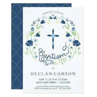 Baptême, carte d'invitation de garçons carton d'invitation 8,89 cm x 12,70 cm