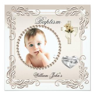 Baptême crème beige de baptême de fille de bébé carton d'invitation  13,33 cm