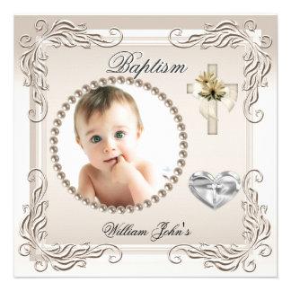 Baptême crème beige de baptême de fille de bébé invitations personnalisables