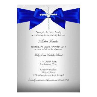Baptême croisé argenté blanc de bleu royal carton d'invitation  12,7 cm x 17,78 cm