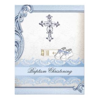Baptême croisé blanc bleu de damassé de garçon de