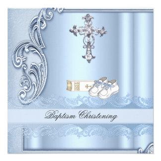 Baptême croisé bleu de damassé de garçon de baptêm faire-part personnalisés
