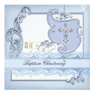 Baptême croisé bleu de damassé de garçon de carton d'invitation  13,33 cm