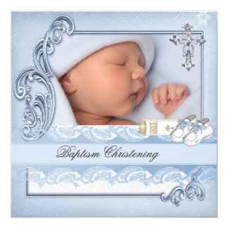 Baptême croisé bleu de damassé de garçon de