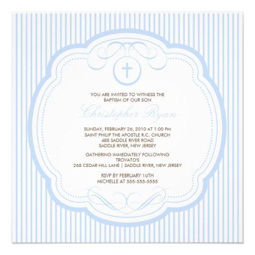 Baptême croisé bleu doux Inviation de bébé Faire-part Personnalisé