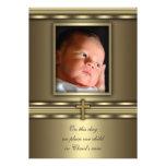 Baptême croisé de baptême de photo de bébé d'or invitations