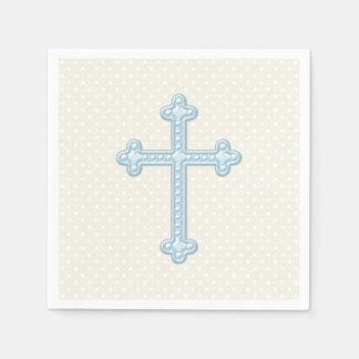 Baptême croisé de bleus layette serviette jetable