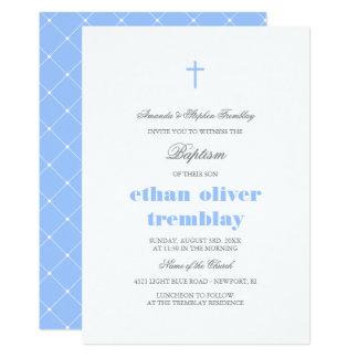 Baptême croisé gris et bleu-clair élégant carton d'invitation  12,7 cm x 17,78 cm