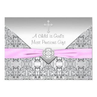 Baptême croisé rose de baptême de bébé carton d'invitation  12,7 cm x 17,78 cm