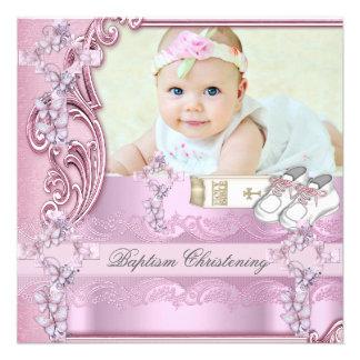 Baptême croisé rose de photo de fille de baptême faire-part personnalisé