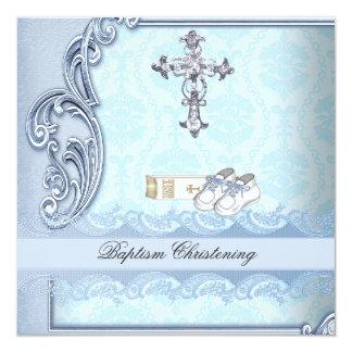 Baptême croisé turquoise bleu de damassé de garçon carton d'invitation  13,33 cm