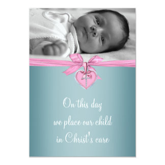 Baptême croisé turquoise rose de photo de bébé invitations personnalisées