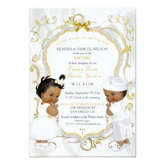 Baptême de baptême de jumeaux de garçon et de carton d'invitation  12,7 cm x 17,78 cm