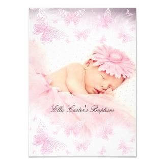 Baptême de baptême de papillon d'étincelle de rose carton d'invitation  11,43 cm x 15,87 cm