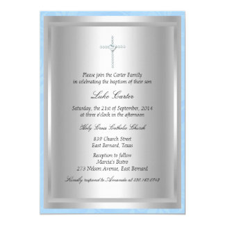 Baptême de diamant/invitation bleus croisés de carton d'invitation  12,7 cm x 17,78 cm