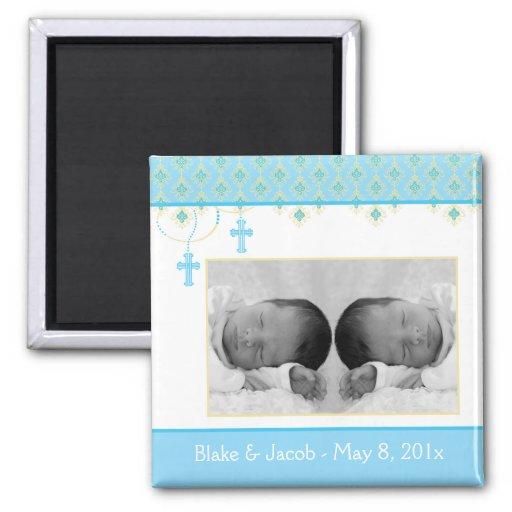 Baptême de garçon/faveur jumeaux de baptême - aima aimants pour réfrigérateur