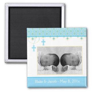 Baptême de garçon/faveur jumeaux de baptême - magnet carré
