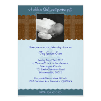 Baptême de garçon/invitation de baptême carton d'invitation  12,7 cm x 17,78 cm