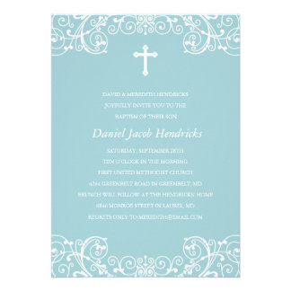 Baptême de garçons/invitation croisés bleus de bap