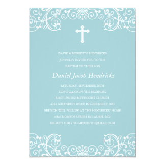 Baptême de garçons/invitation croisés bleus de