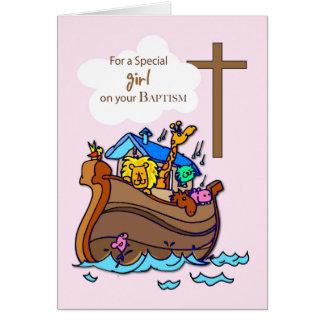 Baptême de l'arche de Noé de fille, animaux Carte De Vœux