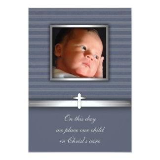 Baptême de photo de bébé de rayure bleue carton d'invitation  12,7 cm x 17,78 cm