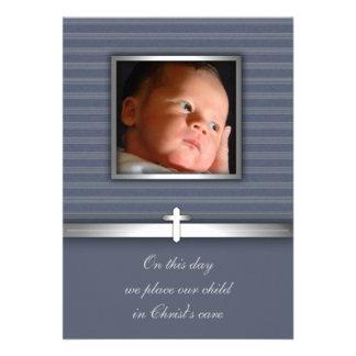 Baptême de photo de bébé de rayure bleue invitations personnalisables