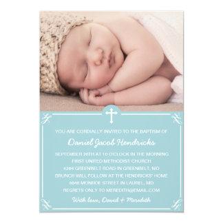 Baptême de photo de garçons bleus/invitation de