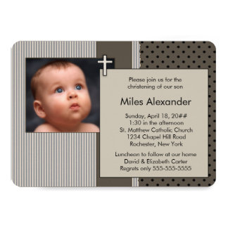 Baptême de photo de garçons de rayure de Brown Carton D'invitation 12,7 Cm X 17,78 Cm