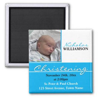 Baptême de photo ou invitation bleu de baptême magnet carré