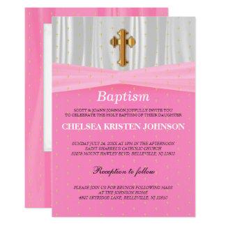 Baptême de satin/baptême assez roses et blancs carton d'invitation  12,7 cm x 17,78 cm