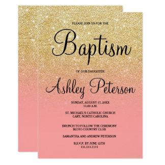 Baptême d'ombre de rose de scintillement de faux carton d'invitation  12,7 cm x 17,78 cm