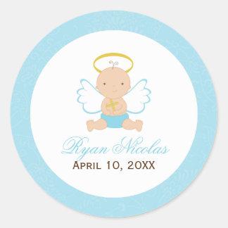 Baptême doux de bébé sticker rond