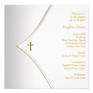 Baptême élégant de croix d or blanc
