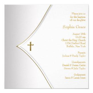 Baptême élégant de croix d'or blanc carton d'invitation  13,33 cm