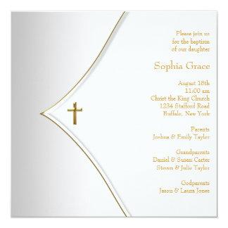 Baptême élégant de croix d'or blanc cartons d'invitation personnalisés
