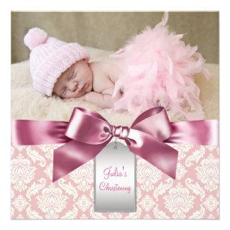 Baptême en ivoire et rose de photo de bébé de dama cartons d'invitation