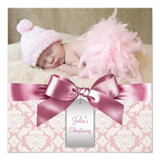 Baptême en ivoire et rose de photo de bébé de cartons d'invitation