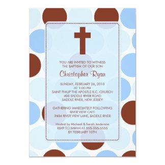 Baptême Inviation Brown de garçon et pois bleu Carton D'invitation 12,7 Cm X 17,78 Cm
