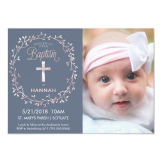 Baptême, invitation de photo de baptême - bébé