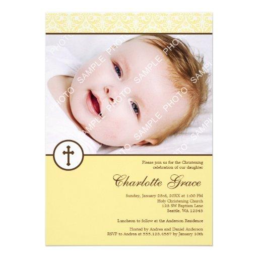 Baptême jaune de baptême de photo de croix de dama invitations