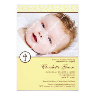 Baptême jaune de baptême de photo de croix de carton d'invitation  12,7 cm x 17,78 cm