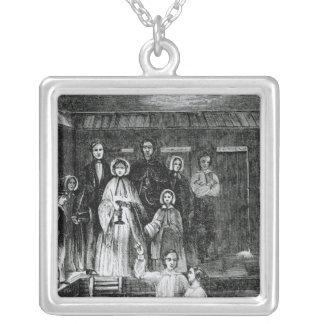Baptême mormon pendentif carré