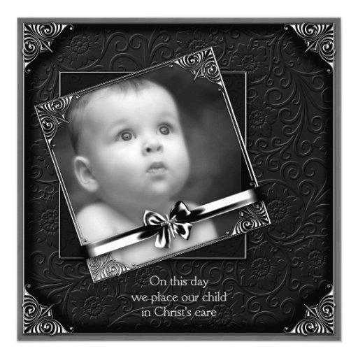 Baptême noir de photo de bébé invitation personnalisable