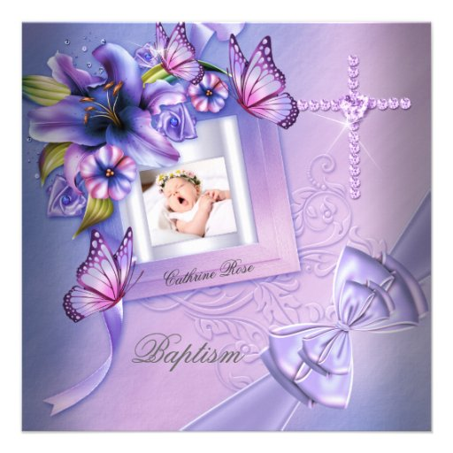 Baptême pourpre de photo de rose de fille de baptê faire-part personnalisables