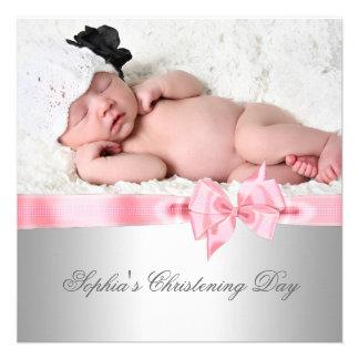 Baptême rose argenté de photo de fille d'arc de da invitations personnalisées