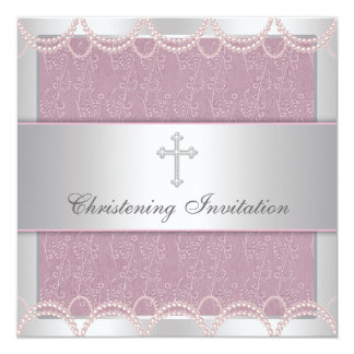 Baptême rose de baptême de bébé de croix de perle faire-part personnalisé