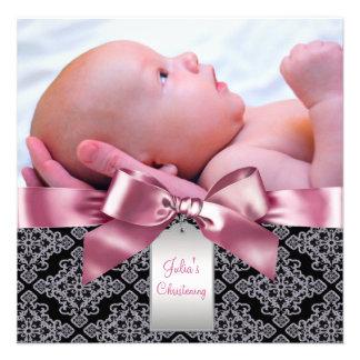 Baptême rose de photo de bébé de damassé bristols