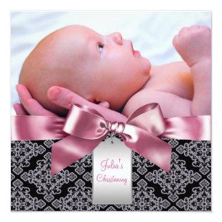 Baptême rose de photo de bébé de damassé carton d'invitation  13,33 cm